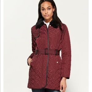 COLE HAAN Quilted Faux Fur-Trimmed Trench Coat
